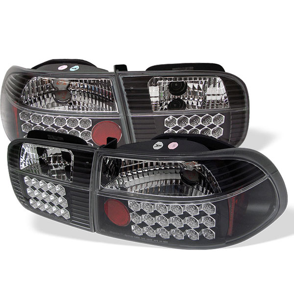 Spyder ALT-YD-HC92-3D-LED-BK: Spyder Honda Civic 92-95 3DR LED Tail Lights - Black