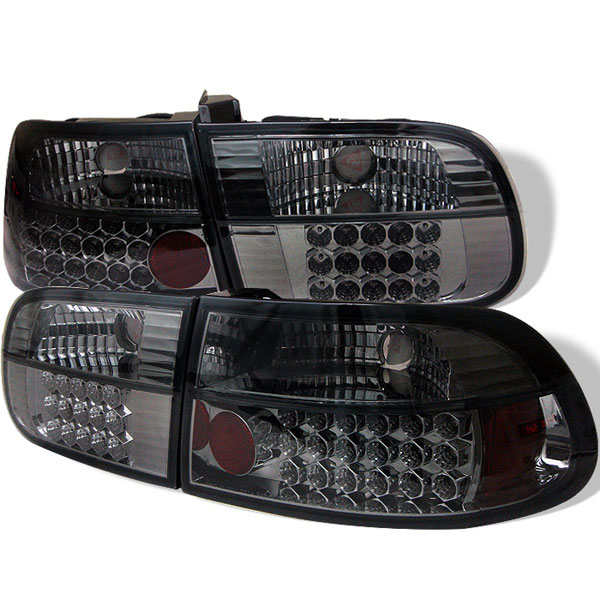 Spyder ALT-YD-HC92-3D-LED-SM:  Honda Civic 92-95 3DR LED Tail Lights - Smoke
