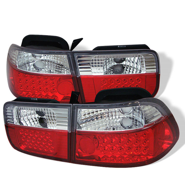 Spyder ALT-YD-HC96-2D-LED-RC:  Honda Civic 96-00 2Dr LED Tail Lights - Red Clear