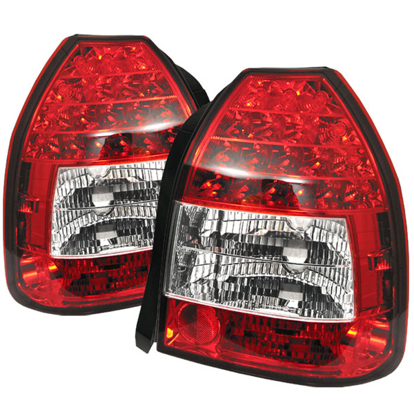 Spyder 5004949:  Honda Civic 96-00 3DR LED Tail Lights - Red Clear  - (ALT-YD-HC96-3D-LED-RC)