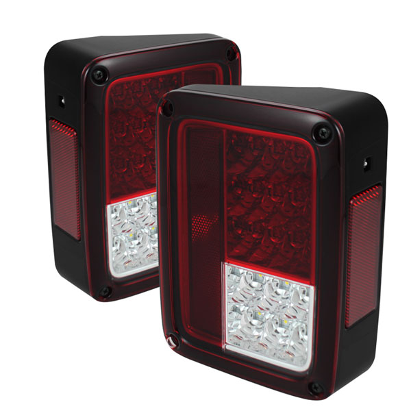 Spyder ALT-YD-JWA07-LED-RC:  Jeep Wrangler 07-15 LED Tail Lights - Red Clear