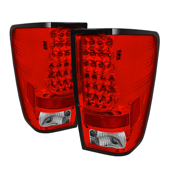 Spyder ALT-YD-NTI04-LED-RC:  Nissan Titan 04-12 LED Tail Lights - Red Clear