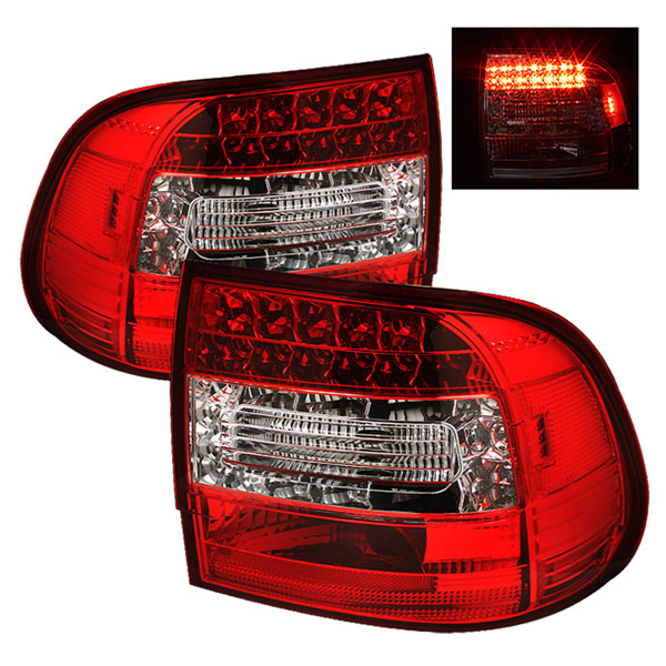 Spyder ALT-YD-PCAY03-LED-RC:  Porsche Cayenne 03-07 LED Tail Lights - Red Clear