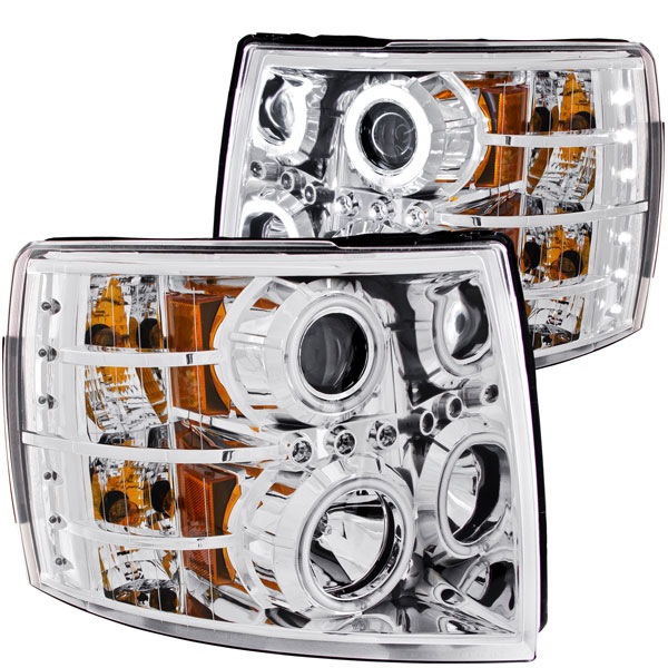 Anzo 111086 | ANZO USA Chevrolet Silverado 1500 Projector Headlights W/ Halo Chrome; 2007-2013