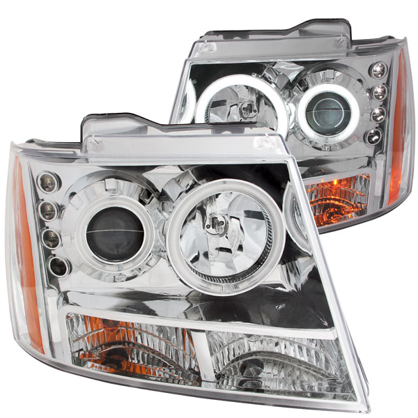 Anzo 111108 | ANZO USA Chevrolet Suburban Projector Headlights W/ Halo Chrome; 2007-2014