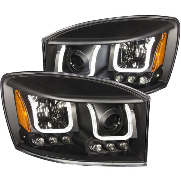 Anzo 111314 | ANZO USA Dodge Ram 2500 Projector Headlights W/ U-Bar Black; 2006-2009
