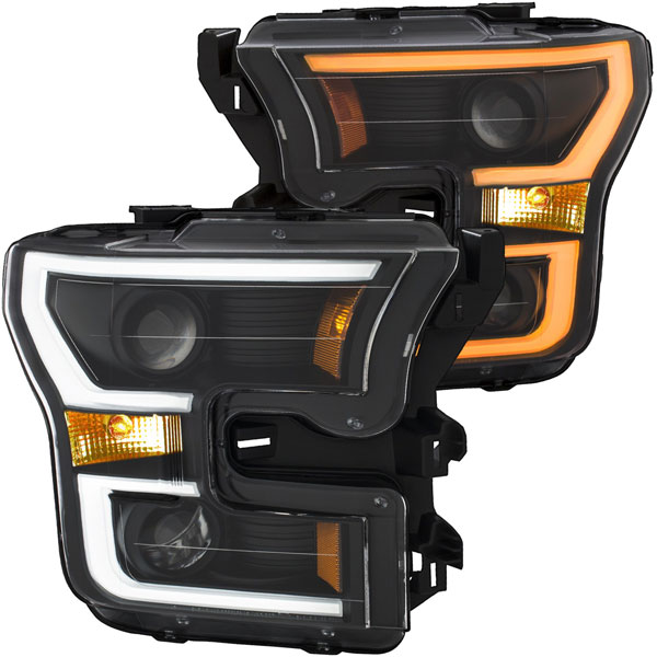 Anzo 111357   ANZO USA Ford F-150 Projector Headlights W/ Plank Style Switchback Black W/ Amber; 2015-2017