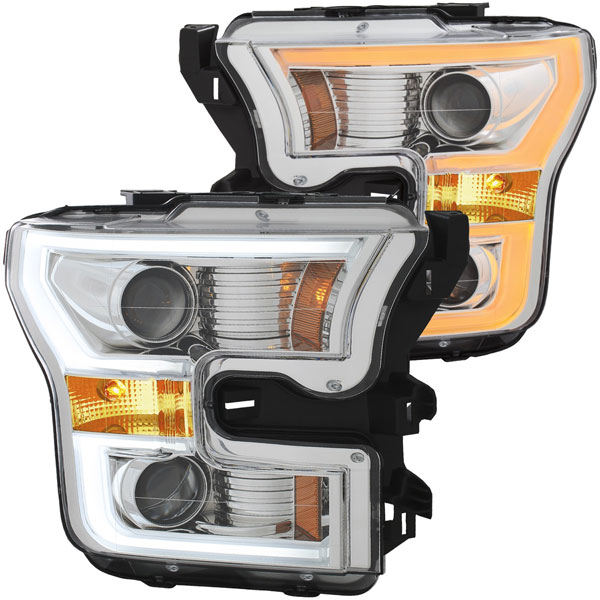Anzo 111358   ANZO USA Ford F-150 Projector Headlights W/ Plank Style Switchback Chrome W/ Amber, 2015-2017