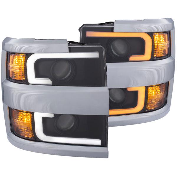 Anzo 111365 | ANZO USA Chevrolet Silverado Hd Projector Headlights W/ Plank Style Switchback Black W/ Amber (Chrome Rim); 2015-2017