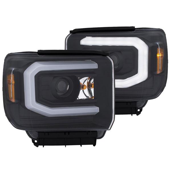 Anzo 111369 | ANZO USA GMC Sierra 1500 Projector Headlights W/ Plank Style Black W/ Drl; 2014-2017