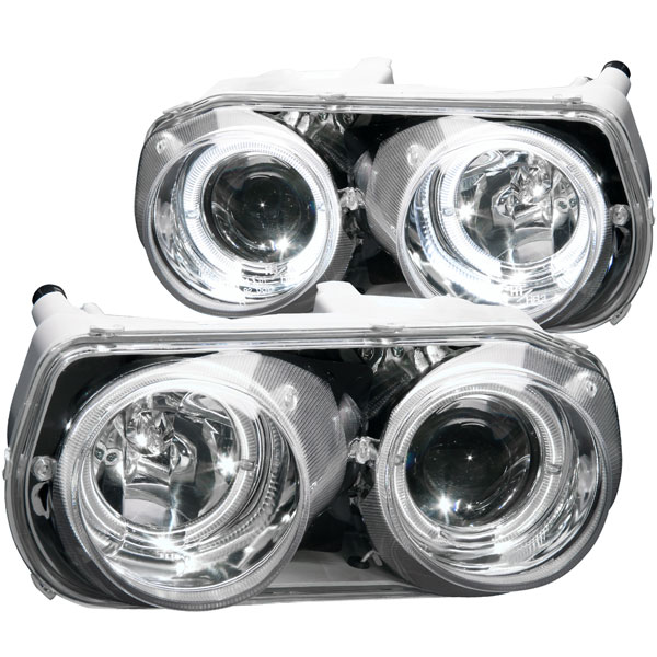 Anzo (121004) ANZO USA Acura Integra Projector Headlights W/ Halo Chrome, 1994-1997