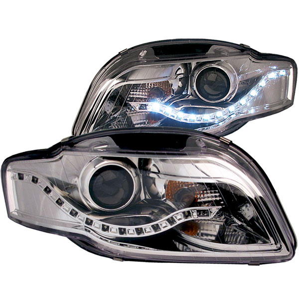 Anzo (121317) ANZO USA Audi Rs4 B7 Bodystyle Projector Headlights Chrome (R8 Led Style), 2006-2008