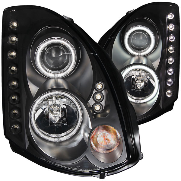Anzo 121363 | ANZO USA Infiniti G35 2dr Projector Headlights W/ Halo Black (Ccfl) (Hid Compatible); 2003-2007