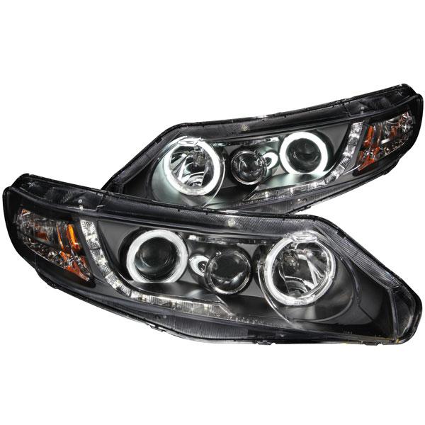 Anzo 121454 | ANZO USA Honda Civic 4dr Projector Headlights W/ Halo Black (Ccfl); 2006-2011
