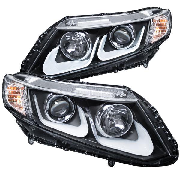 Anzo 121479 | ANZO USA Honda Civic 4dr / 2dr Projector Headlights W/ U-Bar Black; 2012-2015