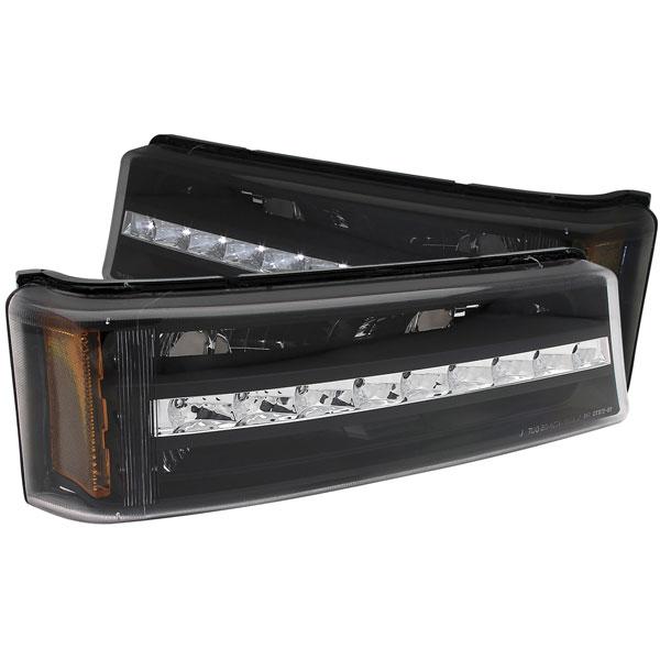 Anzo 511067 | ANZO USA Chevrolet Silverado Led Parking Lights Black W/ Amber Reflector; 2003-2006