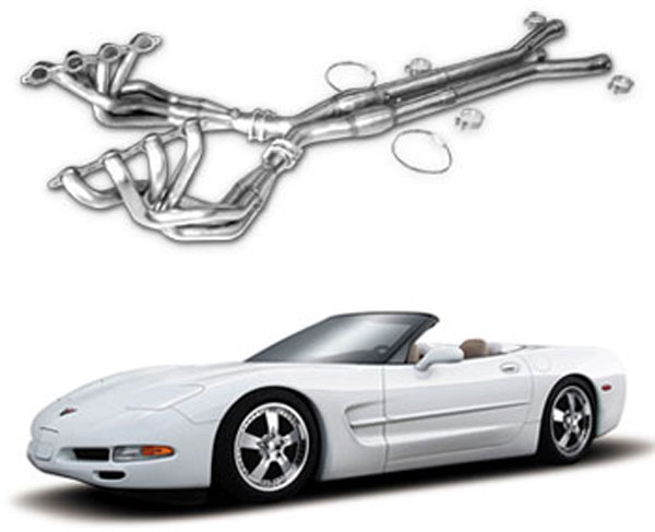 American Racing Headers ARHC5KIT78:  ARH LongTube 1-7/8 304-SS Headers with cats and 3X3 INCH x-pipe Corvette C5 1997-04