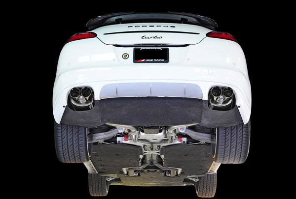 AWE Tuning 3010-43020 |  Porsche Panamera Turbo 4.8L Turbo Performance Exhaust System Touring Edition Diamond Black Tips, 2010-2016