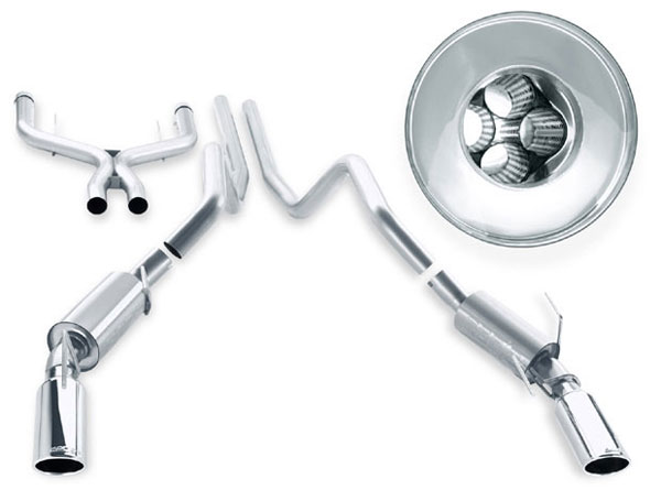 Borla (140210)  Stainless Steel Cat-Back System with x-pipe 2007-09 Mustang GT500 V8