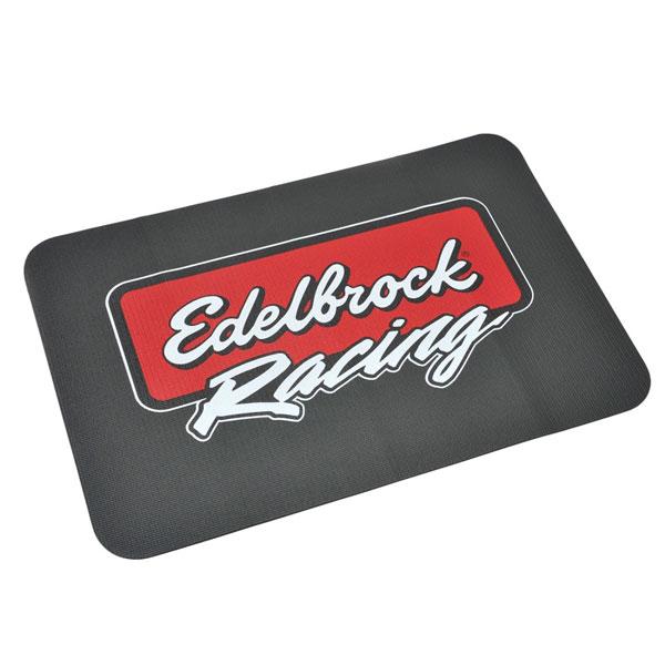 Edelbrock 2324   Edelbrock Racing Fender Cover - PVC Foam Mat - 2 Color Printed Edelbrock Racing Logo