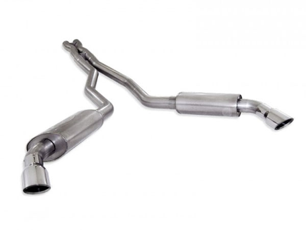 "Stainless Works CA10CBL-LMF |  Chevy Camaro Exhaust 3"" Dual S-Tube Mufflers with X-Pipe; 2010-2015"