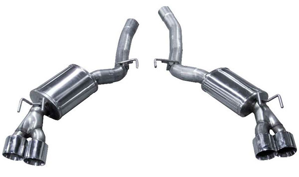 American Racing Headers CAZ28-14300ACBK: Camaro Z28 2014-2015 AXEL FORWARD Mufflers With Quad S/S Tips