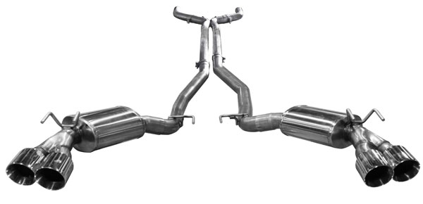 American Racing Headers CAZ28-14300SCBK: Camaro Z28 2012-2015 Catback Mufflers With Quad S/S Tips