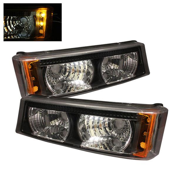 xTune CBL-CS04-BK-AM |  Chevrolet Silverado Bumper Lights - Black Amber; 2003-2006