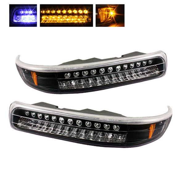 xTune (CBL-CS99-LED-BK)  Chevrolet Silverado 99-02 LED Amber Bumper Lights - Black