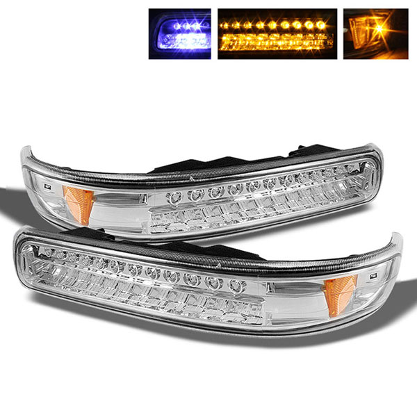 xTune CBL-CS99-LED-E |  Chevrolet Silverado LED Amber Bumper Lights - Chrome; 1999-2002