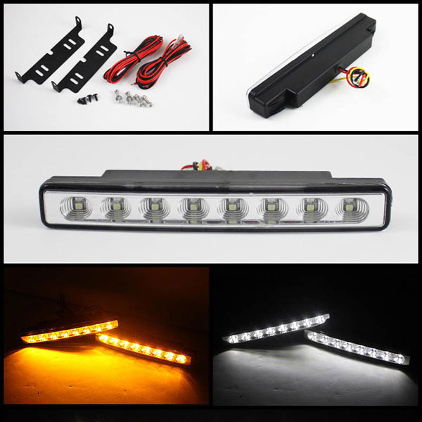 xTune CBL-DRL-TN-AM-C:  DRL 0.5W LED w/ Amber Signal Lights - Chrome
