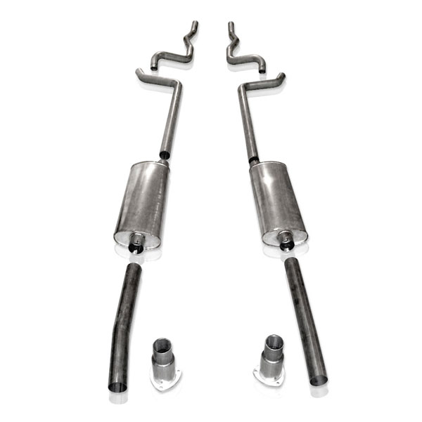 Stainless Works CH5573SWH:  Chevy 1955-57 Exhaust 2 1/2'' Dual Turbo Muffler Bumper Exit