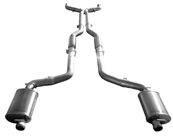 American Racing Headers CHL-09300CTBK:  CHALLENGER 2009 & Up Full Cat Back with Ball/Socket Muffler (reuses factory tips) - includes 3 X-pipe fits 6.4/6.1/5.7L