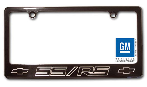 Empire CM320SSRSB |  Camaro - License Plate frame with SS/RS Logo - Black; 2010-2012
