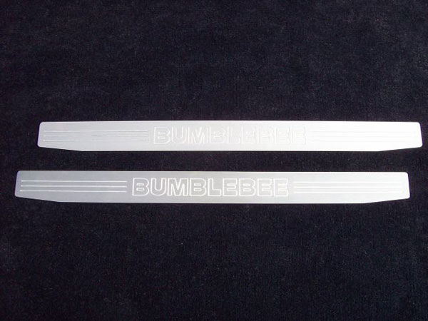 Empire CM357BBS:  Camaro 2010-11 - 2011 Door Sill Plates with Bumblebee Lettering (pair) - Satin