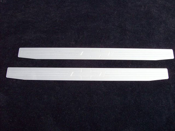 Empire CM357BS:  Camaro 2010-11 - 2011 Door Sill Plates with Bowtie Emblem (pair) - Satin