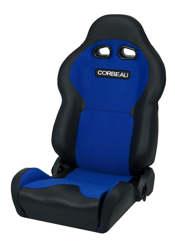 Corbeau 20005:  VX2000 Reclining Seat in Black Vinyl/ Blue Cloth (Sold in Pairs, Price is for 2 Seats)