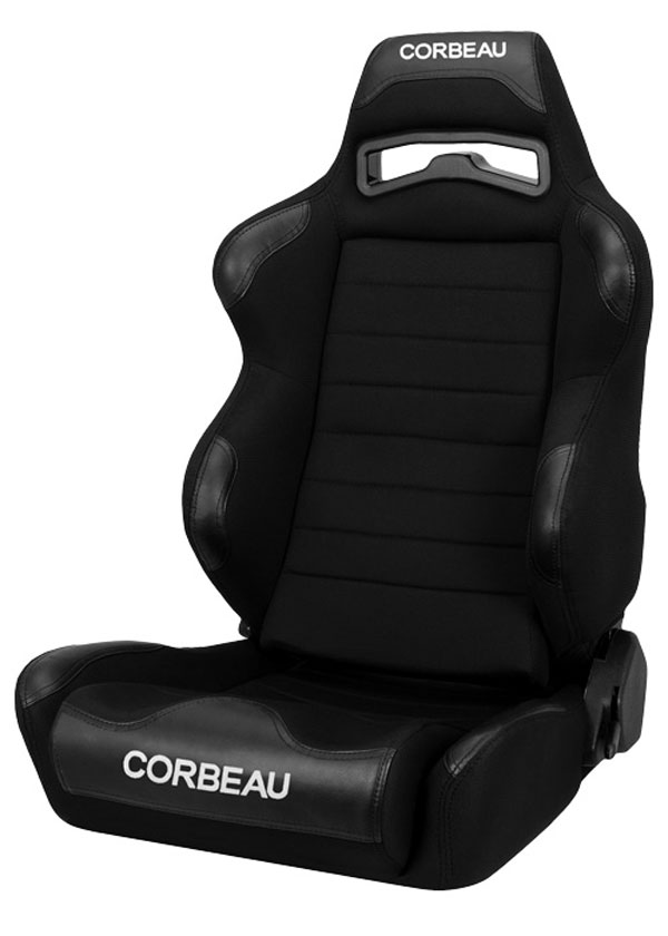 Corbeau 25501 |  LG1 Reclining Seat in Black Cloth (Sold in Pairs, Price is for 2 Seats); 1950-2017