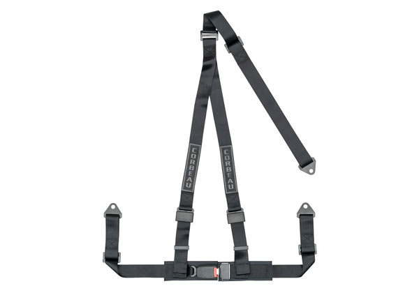 Corbeau 43001B:  2 Inch Harness Belt 3-point Single Release bolt-in - Black