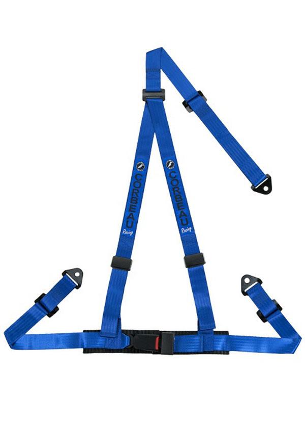 Corbeau 43005S |  2 Inch Harness Belt 3-point Single Release Snap-in - Blue