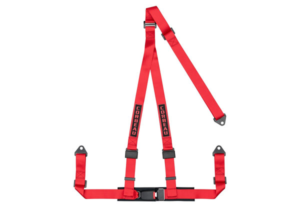 Corbeau 43007B:  2 Inch Harness Belt 3-point Single Release Bolt-in - Red
