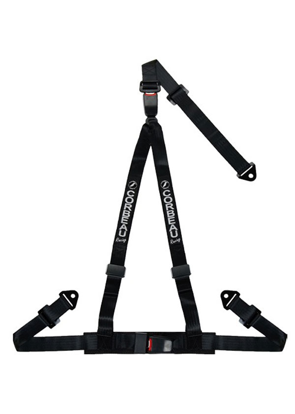 Corbeau 43201S: Corbeau 2 Inch Harness Belt 3-point Double Release Snap-in - Black