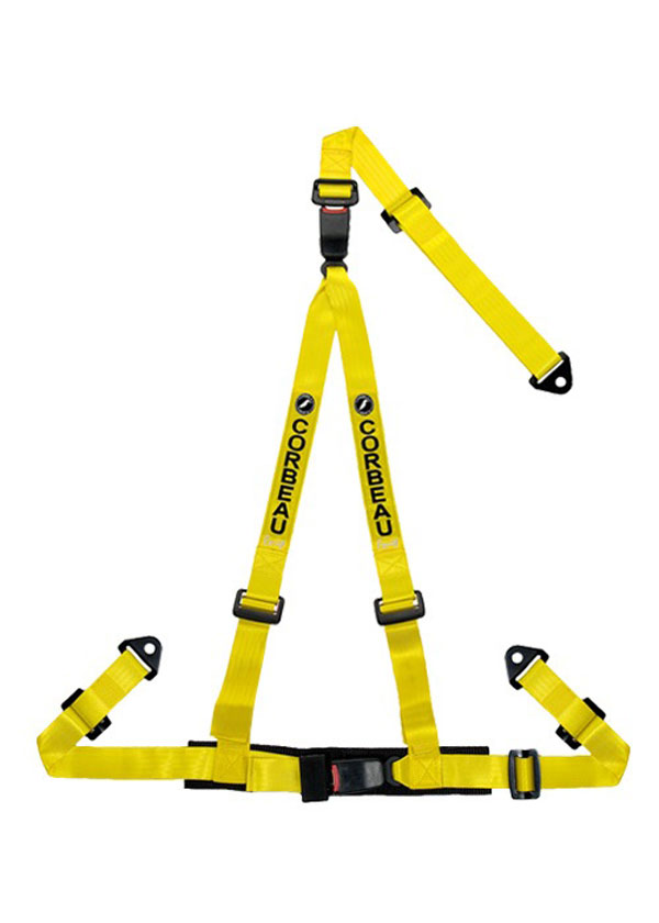 Corbeau 43203S |  2 Inch Harness Belt 3-point Double Release Snap-in - Yellow; 1950-2017