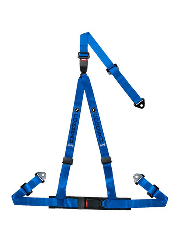 Corbeau 43205S:  2 Inch Harness Belt 3-point Double Release Snap-in - Blue