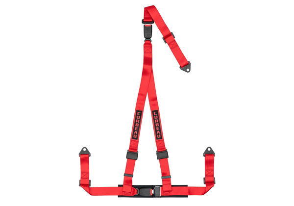 Corbeau 43207B | 2 Inch Harness Belt 3-point Double Release Bolt-in - Red
