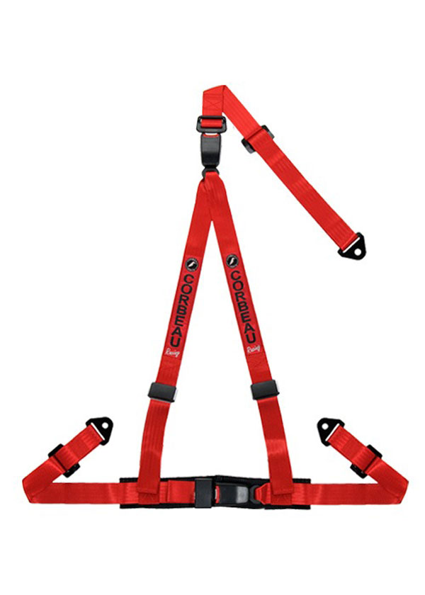 Corbeau 43207S |  2 Inch Harness Belt 3-point Double Release Snap-in - Red; 1950-2017