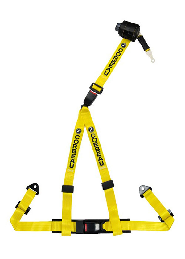 Corbeau 43303B:  2 Inch Retractable Harness Belt 3-point Double Release bolt-in - Yellow