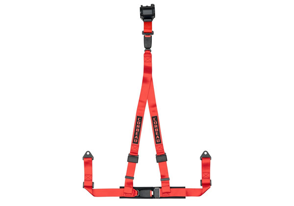 Corbeau 43307B:  2 Inch Retractable Harness Belt 3-point Double Release bolt-in - Red
