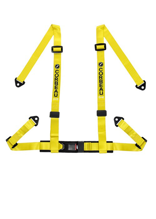 Corbeau 44003S:  2 Inch Harness Belt 4-point Single Release Snap-in - Yellow