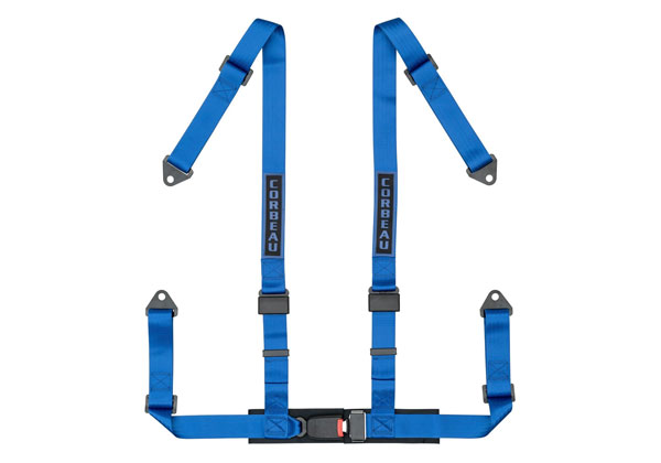 Corbeau 44005B:  2 Inch Harness Belt 4-point Single Release Bolt-in - Blue